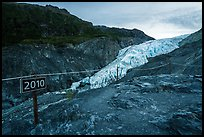 Sign indicating location of Exit Glacier in 2010. Kenai Fjords National Park ( color)