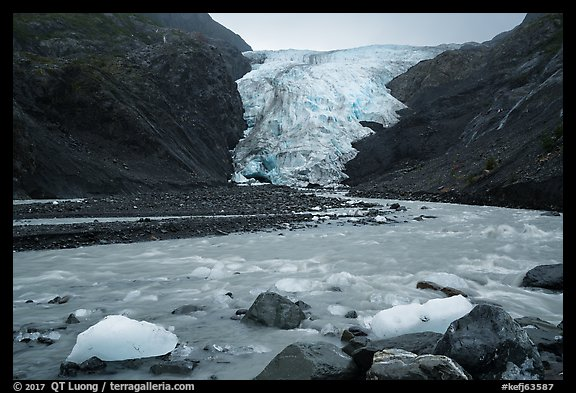 Glacial stream and Exit Glacier, 2016. Kenai Fjords National Park (color)