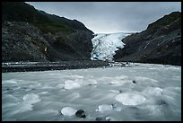 Transluscent icebergs in glacial stream, Exit Glacier. Kenai Fjords National Park ( color)