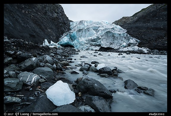 Iceberg, glacial stream, Exit Glacier terminus, 2016. Kenai Fjords National Park (color)