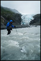 Hiker wades in  glacial stream, Exit Glacier. Kenai Fjords National Park ( color)