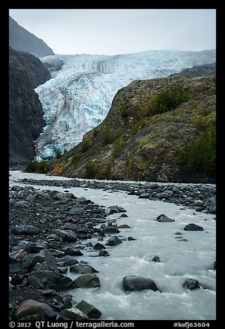 Stream, outwash plain, Exit Glacier. Kenai Fjords National Park (color)