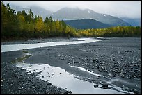 Stream and trees in autumn foliage, and mountains in the rain near Exit Glacier. Kenai Fjords National Park ( color)