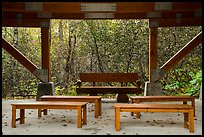 Benches under rain shelter. Kenai Fjords National Park ( color)