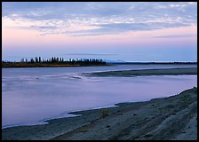 Low sandy shore of Kobuk River at dusk. Kobuk Valley National Park ( color)