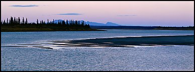 River landscape with ripples on water at dusk. Kobuk Valley National Park (Panoramic color)