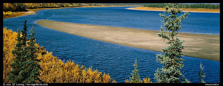 Sand bank in wide Kobuk River. Kobuk Valley National Park (color)