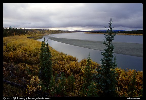 Bend of Kobuk River and sand bar, evening. Kobuk Valley National Park (color)