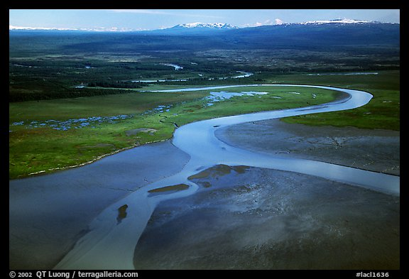 Aerial view of river and estuary. Lake Clark National Park (color)