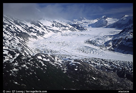 Aerial view of wide glacier near Lake Clark Pass. Lake Clark National Park (color)