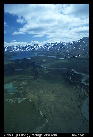 Aerial view of wide valley with Twin Lakes. Lake Clark National Park (color)