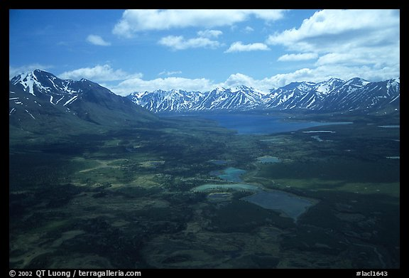 Aerial view of large valley with Twin Lakes. Lake Clark National Park (color)