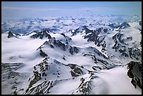 Aerial view of snowy peaks, Chigmit Mountains. Lake Clark National Park, Alaska, USA. (color)