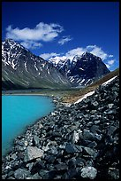 Talus, Turquoise Lake and Telaquana Mountain. Lake Clark National Park, Alaska, USA. (color)
