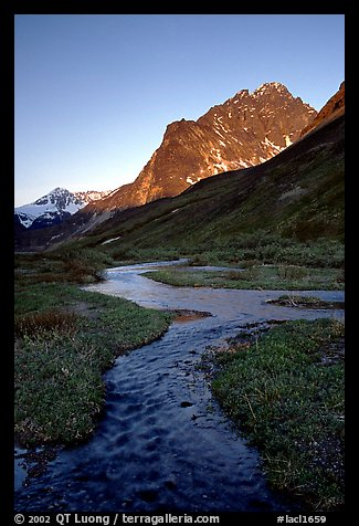 Stream on plain  below the Telaquana Mountains, late afternoon. Lake Clark National Park (color)