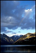 Rainbow and Telaquana Mountains above Turquoise Lake, sunset. Lake Clark National Park, Alaska, USA.