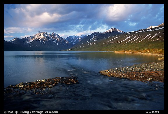 Stream flowing into Turquoise Lake, sunset. Lake Clark National Park (color)