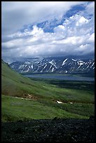 Tundra slopes and Twin Lakes. Lake Clark National Park, Alaska, USA. (color)