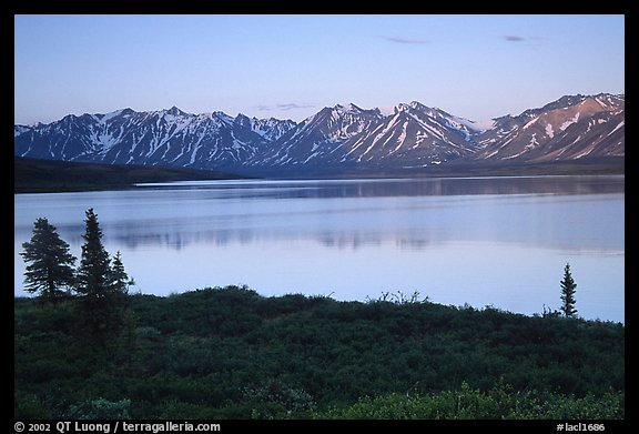 Twin Lakes, sunset. Lake Clark National Park (color)