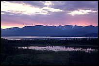 Lake Clark from the base of Tanalian mountain, sunset. Lake Clark National Park, Alaska, USA.