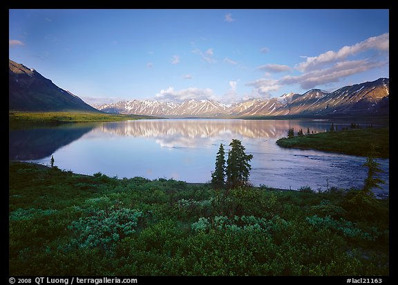 Twin Lakes with mountain reflections and green tundra, evening. Lake Clark National Park (color)