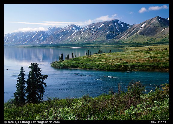 Twin Lakes and river, morning. Lake Clark National Park (color)