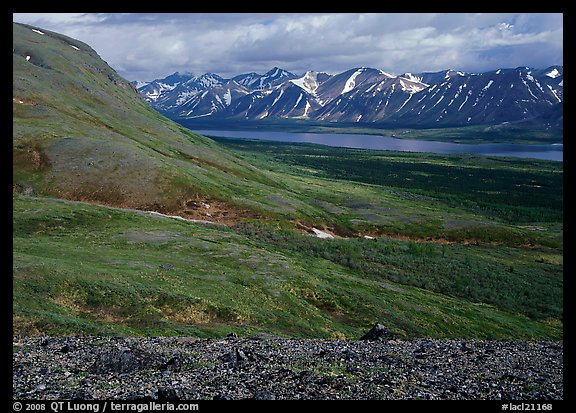 Tundra-covered hills and Twin Lakes. Lake Clark National Park (color)
