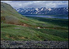 Tundra-covered hills and Twin Lakes. Lake Clark National Park, Alaska, USA.