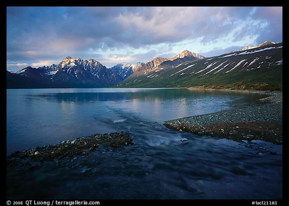 Telaquana Mountains above Turquoise Lake, sunset. Lake Clark National Park (color)