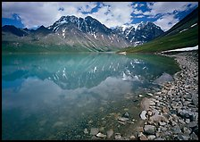 Shore of Turqouise Lake with Telaquana Mountains reflected in silty water. Lake Clark National Park, Alaska, USA.