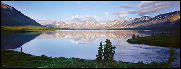 Mountains reflected in Twin Lakes. Lake Clark National Park (Panoramic color)