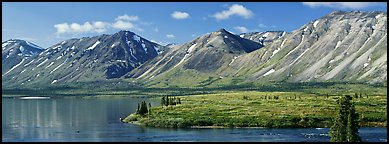 Mountains rising above Twin Lakes. Lake Clark National Park (Panoramic color)