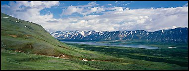 Verdant tundra landscape in the summer with lake and mountains. Lake Clark National Park (Panoramic color)