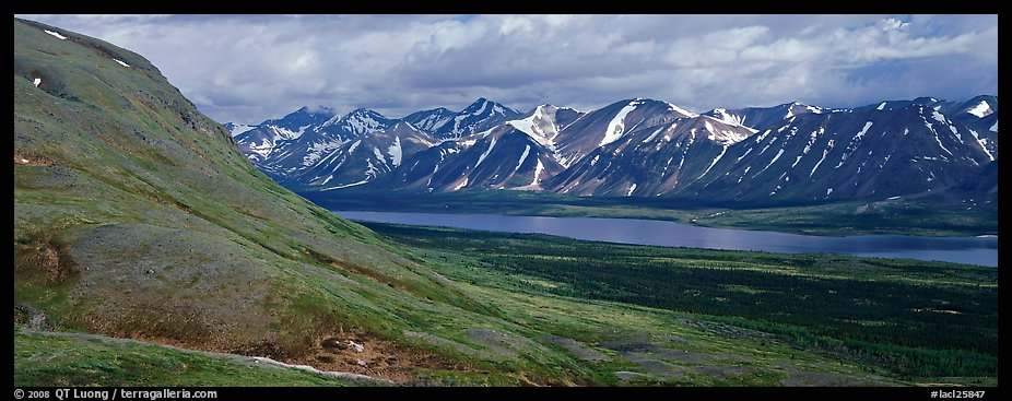 Summer mountain landscape with cloudy skies. Lake Clark National Park (color)