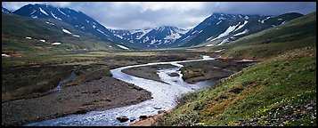Mountain scenery with stream and tundra in summer. Lake Clark National Park (Panoramic color)