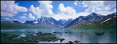 Mountain lake landscape. Lake Clark National Park (Panoramic color)