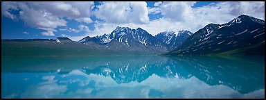 Clouds and mountains reflected in Turquoise Lake. Lake Clark National Park, Alaska, USA.
