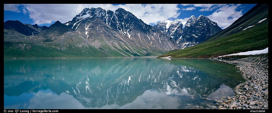 Tall mountains reflected in Turquoise Lake. Lake Clark National Park (color)