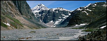 Valley, distant waterfall, and mountains. Lake Clark National Park (Panoramic color)