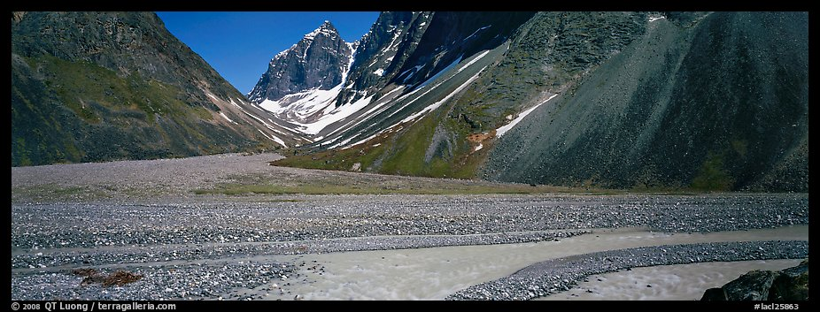 Valley with gravel bar surrounded by steep mountains. Lake Clark National Park (color)