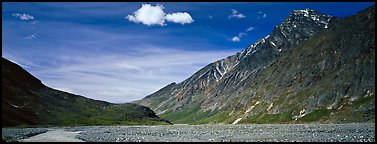 Peaks rising above gravel bar. Lake Clark National Park (Panoramic color)