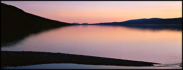 Lake reflecting sunset colors. Lake Clark National Park (Panoramic color)