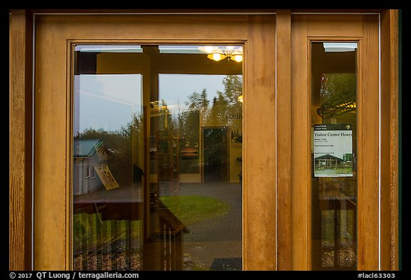 Visitor Center window reflexion. Lake Clark National Park (color)