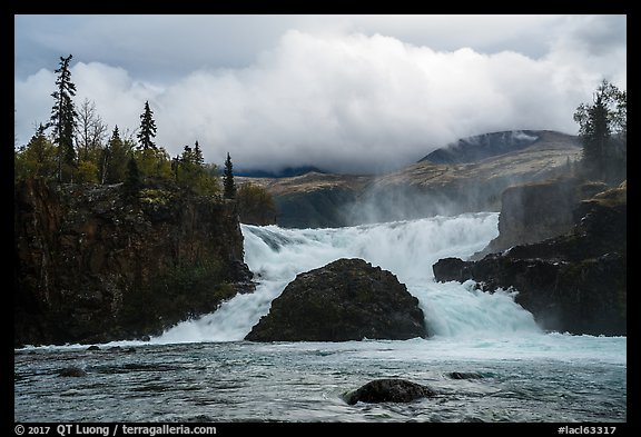 Tanalian Falls and cloud. Lake Clark National Park (color)