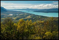 Lake Clark from Tanalian Mountain in the autumn. Lake Clark National Park ( color)