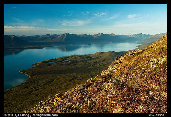 Tundra in autumn, Lake Clark from Tanalian Mountain. Lake Clark National Park (color)