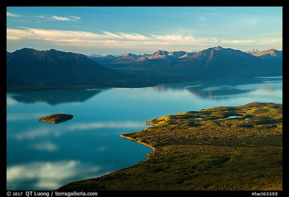 Lake Clark (Qizhjeh Vena) from above, late afternoon. Lake Clark National Park (color)