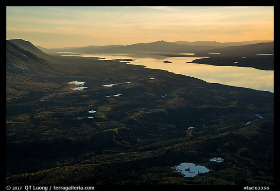 Lake Clark from Tanalian Mountain at sunset, looking south. Lake Clark National Park (color)