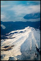 Aerial view of Iliamna Volcano and Cook Inlet. Lake Clark National Park ( color)