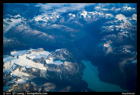 Aerial view of Tuxedni Bay and Chigmit Mountains. Lake Clark National Park (color)
